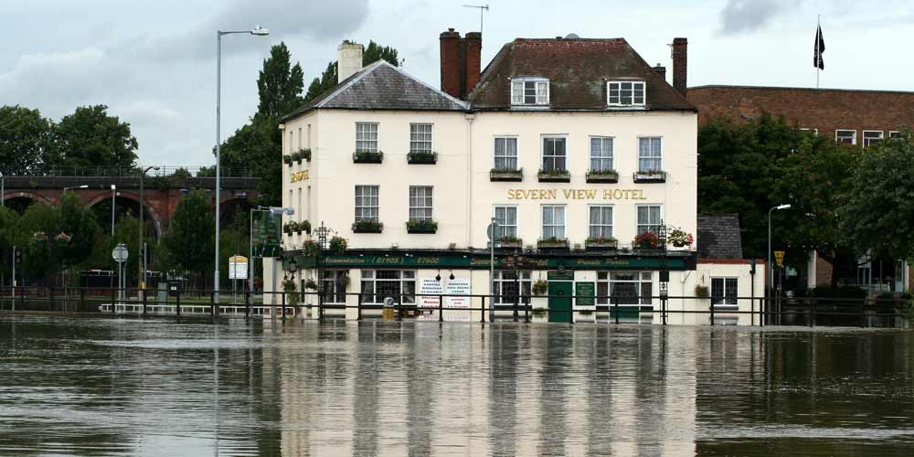 Flooded pub