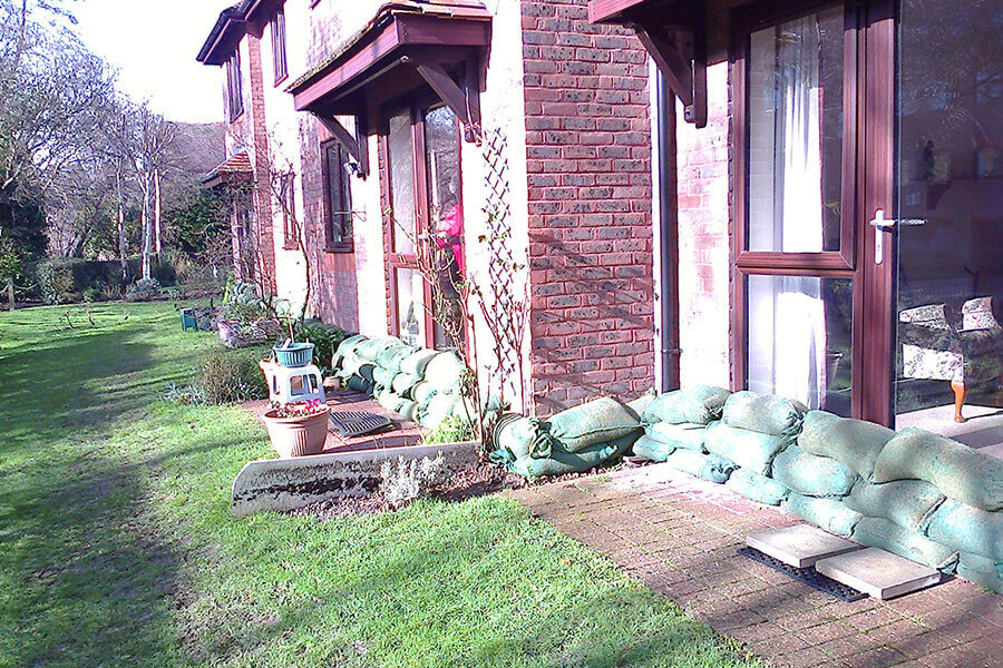 Sandbags outside of residential properties